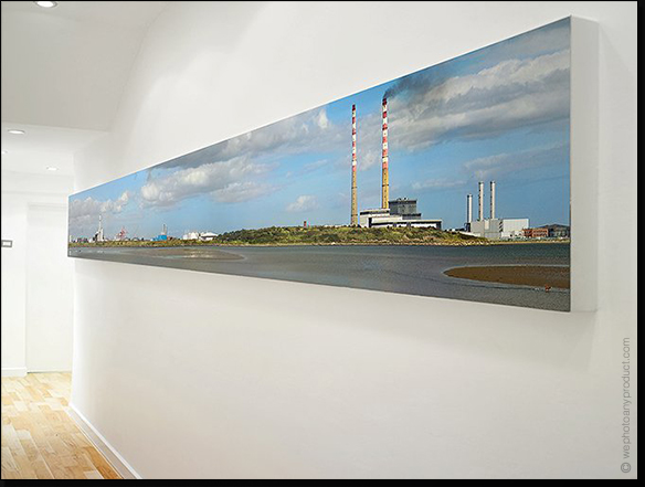 Adds a virtual window to a hallway or internal room. Prints can be mounted between clear acrylic sheets or onto sheet materials like Dibond.